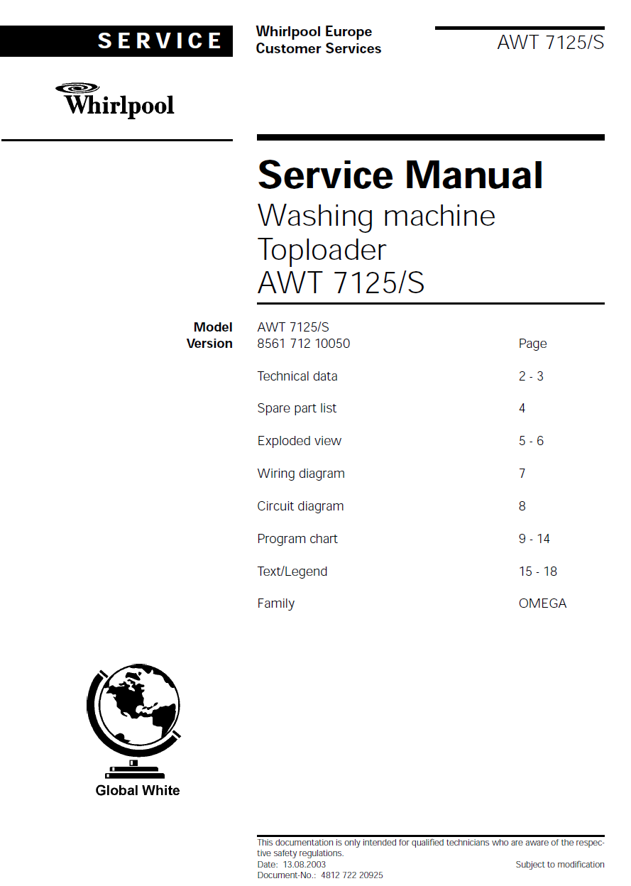 Мануал Whirlpool Service Manual Washing machine Toploader AWT 7125/S
